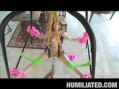 Madison had a blast getting fastened up with feather boas on a sex swing and having her mouth gagged to keep this little immodest legal age teenager slut from making too much noise. Her legs were widen wide open and was dripping with cum, begging to be fucked! We sprayed party string all over and cranked the fuck machine on high just in advance of that honey took a pounding from a hard shlong...