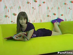 When a dude came to visit his beautiful girlfriend, this playgirl was reading a magazine but that guy managed to persuade her they could do smth else. Luckily for him, that playgirl surrendered to his strong hands and soft lips and, in her turn, took his shlong unfathomable into her mouth and into her sweet cum-hole as well.
