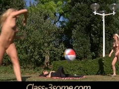 Two joyful blond teenies plays in the garden but at some point their ball rolls over the laying dick nearby. That pont of time the real play starts. The youthful golden-haired teenies ad the horny dick angages in a hardcore fuck
